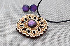 Sady šperkov - Rozprávkový kvietok (sada) - fialovo-ružový - 9123953_