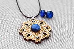 Sady šperkov - Rozprávkový kvet (sada) - modrý - 9124259_