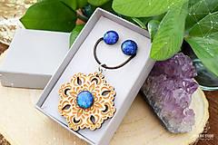 Sady šperkov - Rozprávkový kvet (sada) - modrý - 9124260_