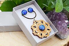 Sady šperkov - Rozprávkový kvet (sada) - modrý - 9124264_