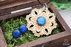 Sady šperkov - Rozprávkový kvet (sada) - modrý - 9124267_