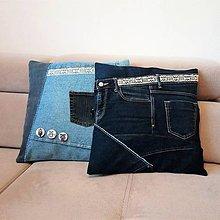 Úžitkový textil - Džínsové obliečky na vankúše - 9127946_