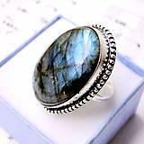 Prstene - Massive Blue Labradorite Ring / Masívny vintage prsteň s modrým labradoritom /0390 - 9125996_