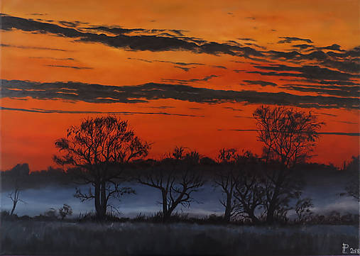 Obraz - Les, západ slnka na safari