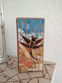 Svietidlá a sviečky - Mozaiková lampa...Vážka a kvety - 9124314_