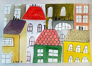 Papiernictvo - Urban ilustrácia pohľadnica  / originál maľba - 9124738_