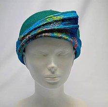 Čiapky - Modro-zelený klobúčik s hodvábnou strieškou - 9128631_