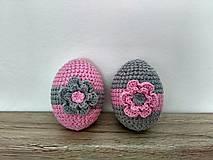 Dekorácie - Háčkované vajíčka sivo-ružové - 9127821_