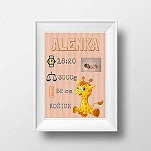 Detské doplnky - Plagát s údajmi dieťatka - žirafka - 9126819_