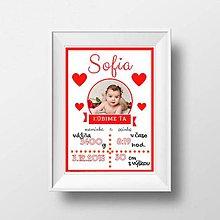 Detské doplnky - Plagátik s fotkou a údajmi dieťatka - 9126871_