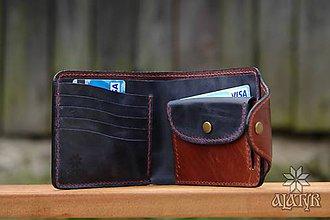 Peňaženky - Kožená peňaženka VI. tmavomodro-hnedá - 9128976_