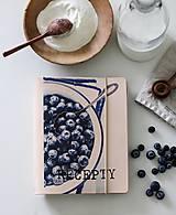 Papiernictvo - Kožený zápisník receptár A5 BLUEBERRY - 9128788_
