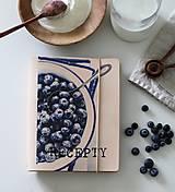 Papiernictvo - Kožený zápisník receptár A5 BLUEBERRY - 9128791_