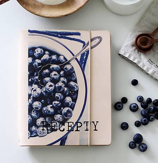 Papiernictvo - Kožený zápisník receptár A5 BLUEBERRY - 9128801_
