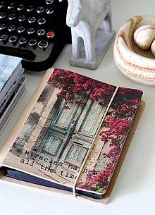Papiernictvo - Kožený motivačný zápisník A5 (motivačný zápisník A5 MIRACLE) - 9127636_