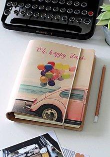 Papiernictvo - Kožený motivačný zápisník A5 (motivačný zápisník A5 HAPPY DAYS) - 9127782_