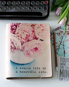 Papiernictvo - Kožený motivačný zápisník A5 (motivačný zápisník A5 SIMPLE LIFE) - 9127846_
