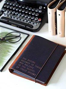 Papiernictvo - Kožený motivačný zápisník A5 (zápisník motivačný A5 FUTURE) - 9128019_