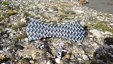 Doplnky - Motýlik carbon-biele sklo - 9129096_