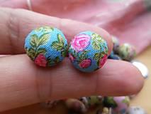 - Kvetované kabošony (butonky) - pár (Modrá) - 9127557_