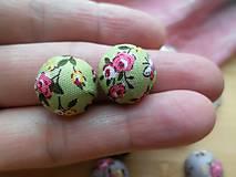 - Kvetované kabošony (butonky) - pár (Zelená) - 9127560_