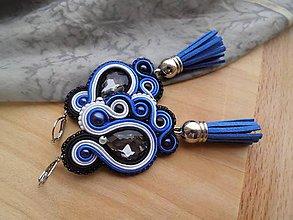 Náušnice - Šujtášové náušnice so strapčekom (Modrá) - 9126528_