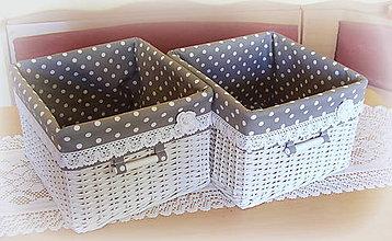 Košíky - Košík romantik v šedej (30 x 27 v 18) - 9126120_