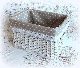 Košíky - Košík romantik v šedej (30 x 22 v 19) - 9126138_
