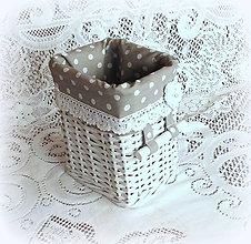 Košíky - Košík romantik v šedej (15 x 12 v 19) - 9126171_