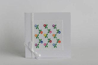 Papiernictvo - Jarné kvety - folk vyšívaný pozdrav - 9125381_