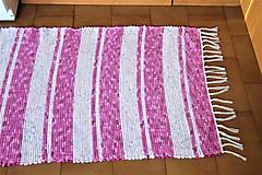 Úžitkový textil - Tkaný koberec ružovo-biely - 9129033_