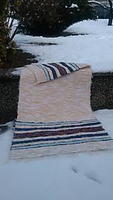 Úžitkový textil - Chlpatý béžový s farebnými pásmi - 9126279_