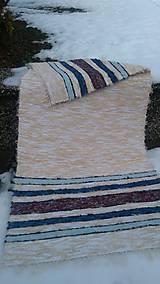 Úžitkový textil - Chlpatý béžový s farebnými pásmi - 9126280_