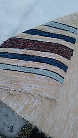 Úžitkový textil - Chlpatý béžový s farebnými pásmi - 9126281_