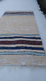 Úžitkový textil - Chlpatý béžový s farebnými pásmi - 9126285_