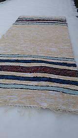 Úžitkový textil - Chlpatý béžový s farebnými pásmi - 9126286_