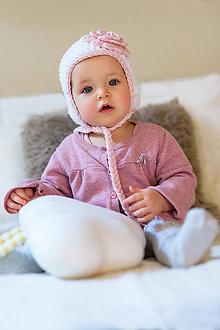 Detské čiapky - Zimná ušianka ... pastelovo ružový kvietok - 9134441_