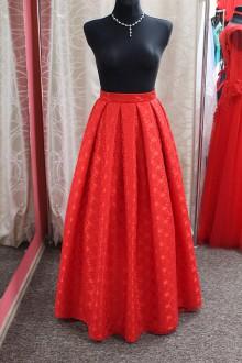 Sukne - Červená čipkovaná maxi sukňa - 9130130_