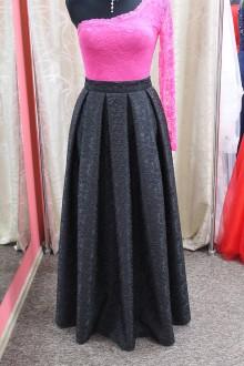Sukne - čierna skladaná maxi sukňa - 9132130_