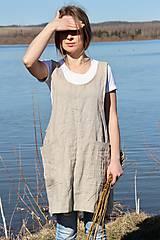 Iné oblečenie - Ľanová zástera- japonská (Béžová) - 9132844_