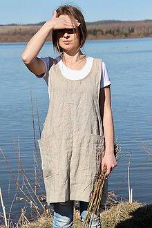 Iné oblečenie - Ľanová zástera- japonská (S-M - Tyrkysová) - 9132844_