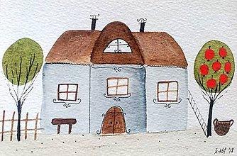 Papiernictvo - Chalúpka pohľadnica  ilustrácia  / originál maľba  - 9130121_