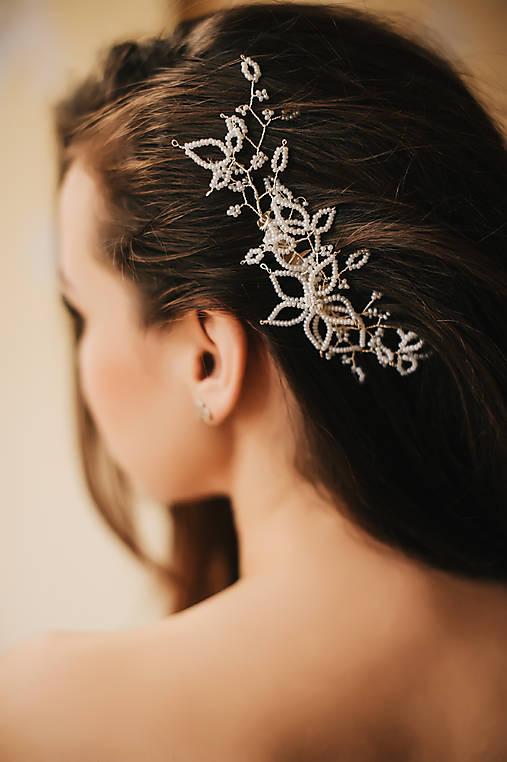 Svadobná ozdoba do vlasov, maslový ozdobný hrebienok (Strieborná)