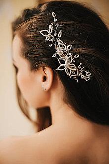 Ozdoby do vlasov - Svadobná ozdoba do vlasov, maslový ozdobný hrebienok (Strieborná) - 9130317_