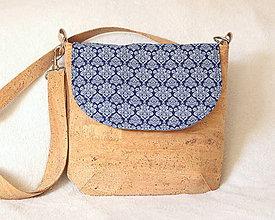 Kabelky - Korková kabelka modrý ornament - 9131018_