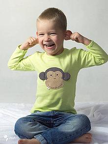 Detské oblečenie - tričko (dlhý rukáv) OPICA ŠKORICA - 9131468_
