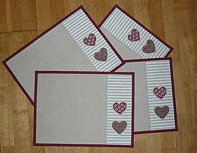 Úžitkový textil - Prestieranie so srdiečkami - tri varianty - 9134272_