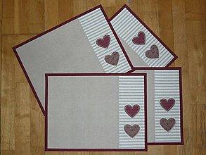 Úžitkový textil - Prestieranie so srdiečkami - tri varianty - 9134282_