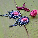 Náušnice - Fuchsia - vyšívané náušnice - 9130642_