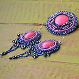 Náušnice - Fuchsia - vyšívané náušnice - 9130646_